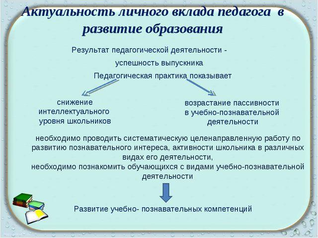 Результат педагогической деятельности - успешность выпускника Педагогическая...