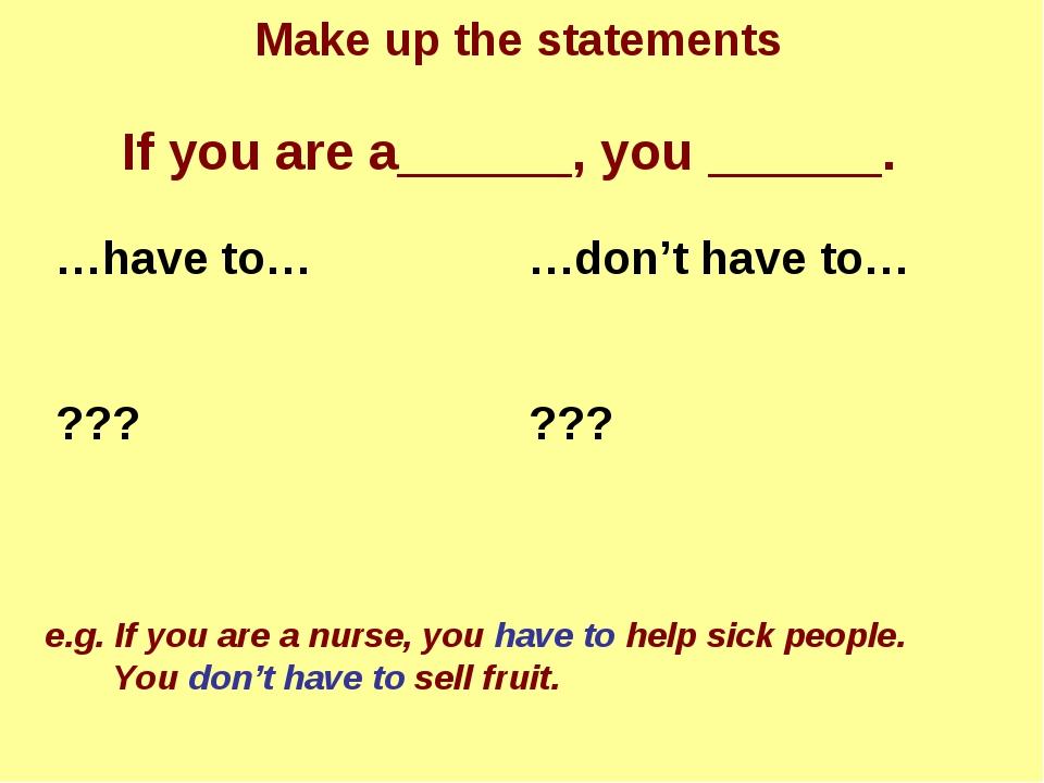 If you are a______, you ______. e.g. If you are a nurse, you have to help sic...
