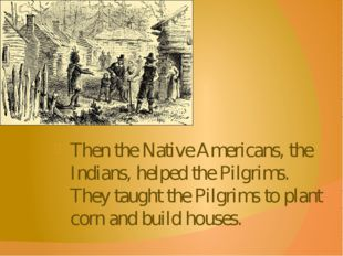 Then the Native Americans, the Indians, helped the Pilgrims. They taught the