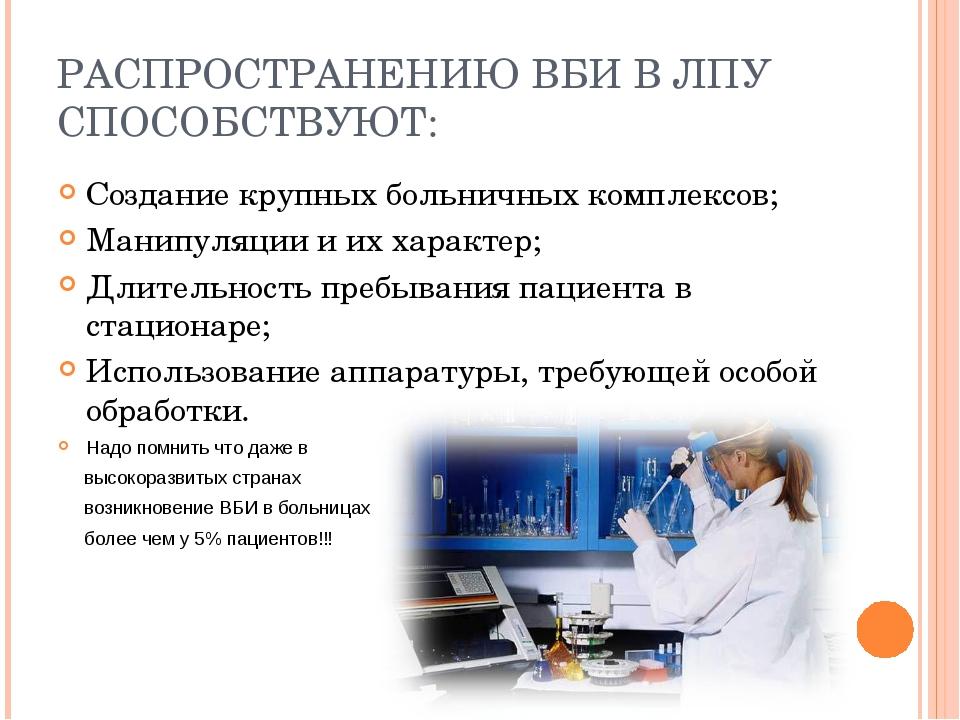 РАСПРОСТРАНЕНИЮ ВБИ В ЛПУ СПОСОБСТВУЮТ: Создание крупных больничных комплексо...