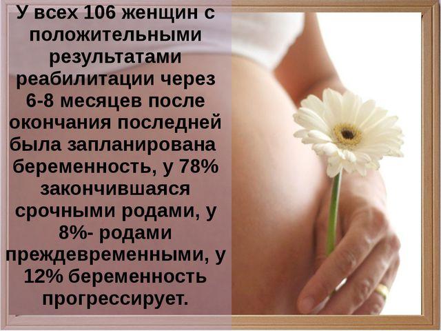 У всех 106 женщин с положительными результатами реабилитации через 6-8 месяц...
