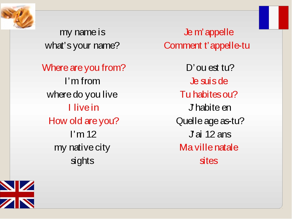 my name is Je m'appelle  what's your name? Comment t'appelle-tu   Where are y...