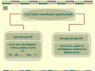однородной Система линейных уравнений если все свободные члены равны нулю т.е