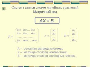 Система записи систем линейных уравнений Матричный вид АХ = В А – основная ма