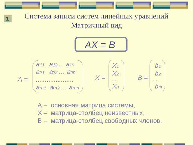 Система записи систем линейных уравнений Матричный вид АХ = В А – основная ма...