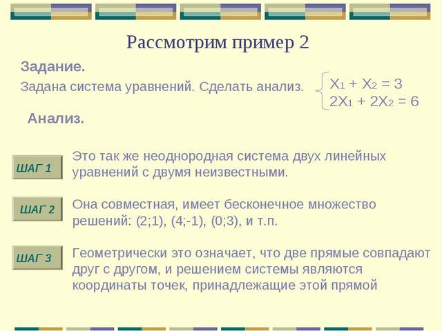 Рассмотрим пример 2 Х1 + Х2 = 3 2Х1 + 2Х2 = 6 Задание. Задана система уравнен...