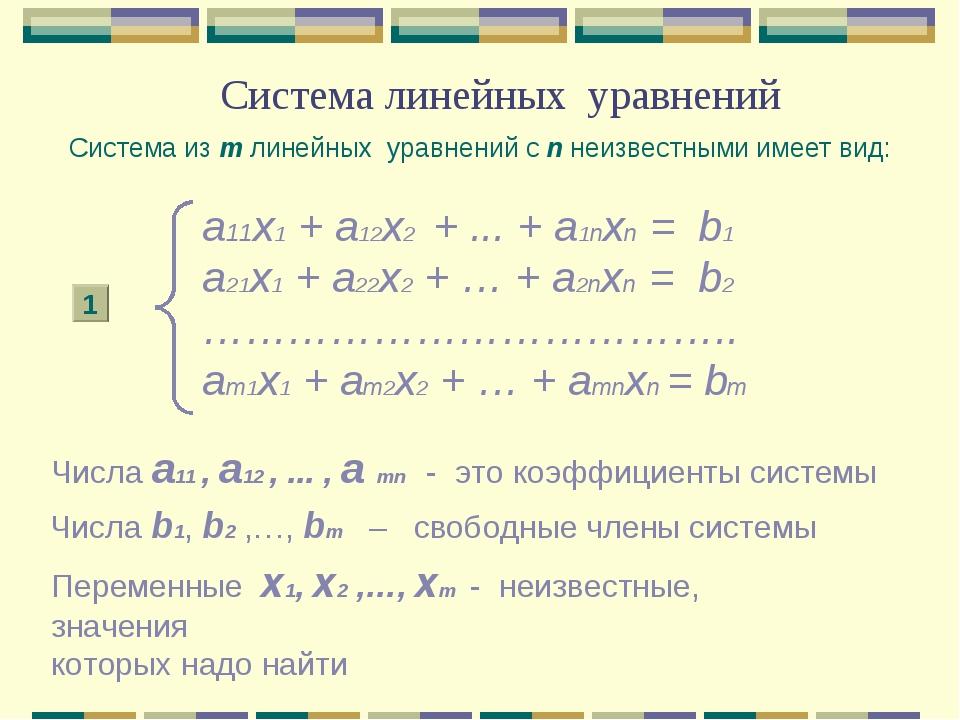 Система линейных уравнений а11x1 + а12x2 + ... + а1nxn = b1 a21x1 + a22x2 + …...