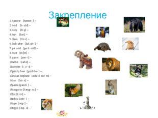 Закрепление hamster [hæmstə] – hold [həuld] – keep [ki:p] – hurt [hз:t] – cle
