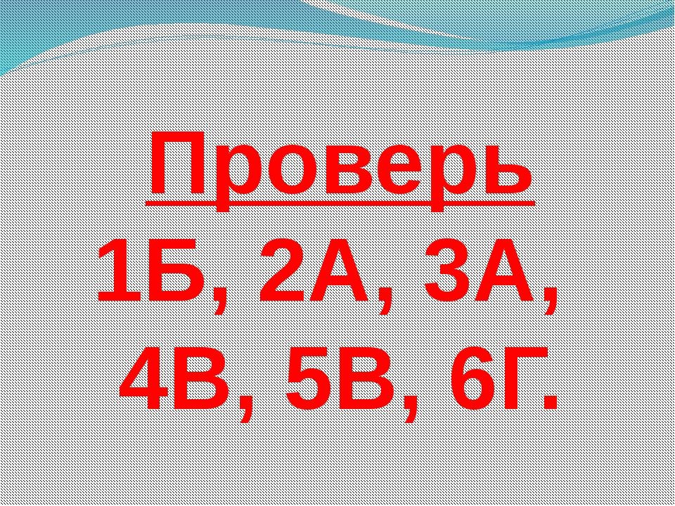 Проверь 1Б, 2А, 3А, 4В, 5В, 6Г.
