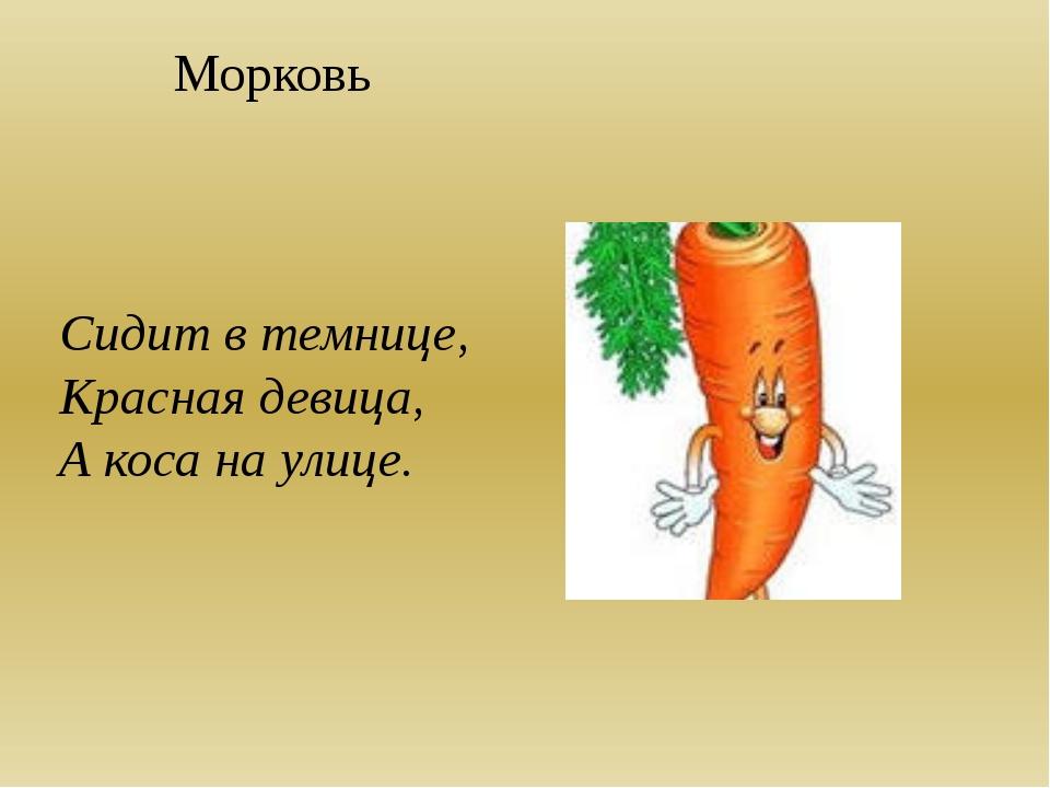 Морковь Сидит в темнице, Красная девица, А коса на улице.