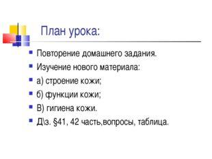 План урока: Повторение домашнего задания. Изучение нового материала: а) стро