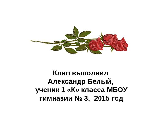 Клип выполнил Александр Белый, ученик 1 «К» класса МБОУ гимназии № 3, 2015 год