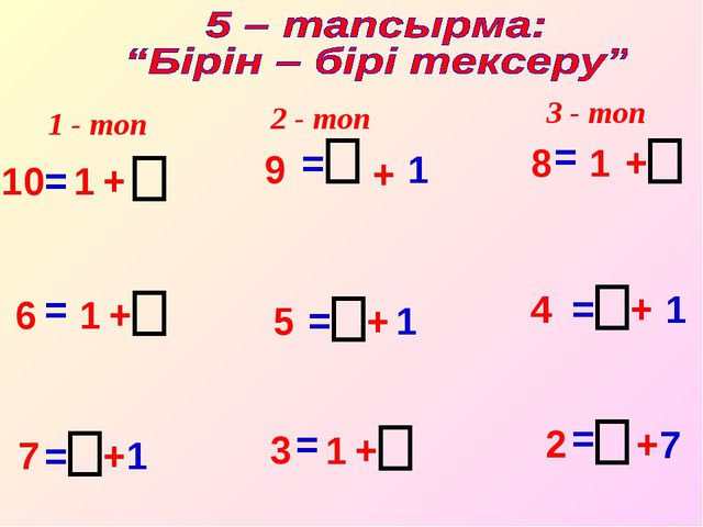 10 = 1 + 9 = + 1 8 = 1 + 6 = 1 + 5 = + 1 4 = + 1 7 = + 1 3 = 1 + 2 = + 7 1 -...