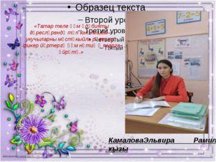 «Татар теле һәм әдәбияты дәресләрендә төп юнәлешем—укучыларны мөстәкыйль рәв
