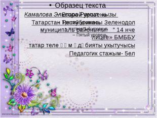 Камалова Эльвира Рамил кызы Татарстан Республикасы Зеленодол муниципаль райо