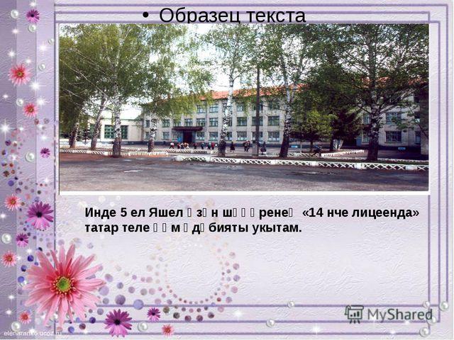 Инде 5 ел Яшел Үзән шәһәренеӊ «14 нче лицеенда» татар теле һәм әдәбияты укыт...