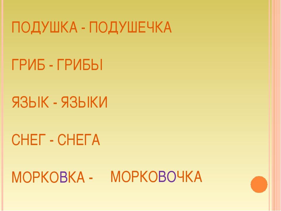 ПОДУШКА - ПОДУШЕЧКА ГРИБ - ГРИБЫ ЯЗЫК - ЯЗЫКИ СНЕГ - СНЕГА МОРКОВКА - МОРКОВО...