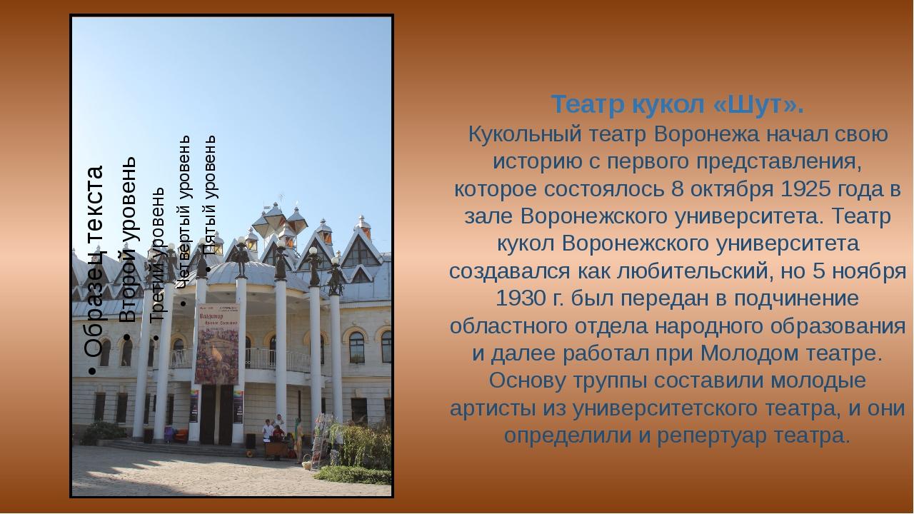 Театр кукол «Шут». Кукольный театр Воронежа начал свою историю с первого пред...