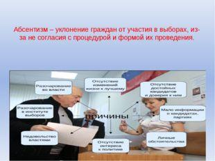 Абсентизм – уклонение граждан от участия в выборах, из-за не согласия с проце