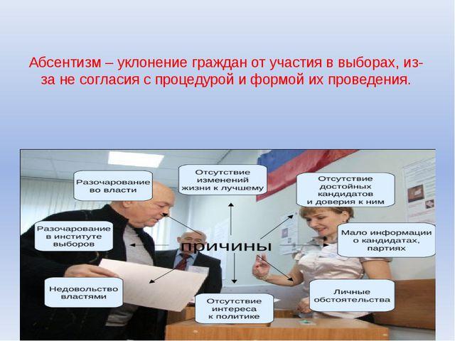Абсентизм – уклонение граждан от участия в выборах, из-за не согласия с проце...