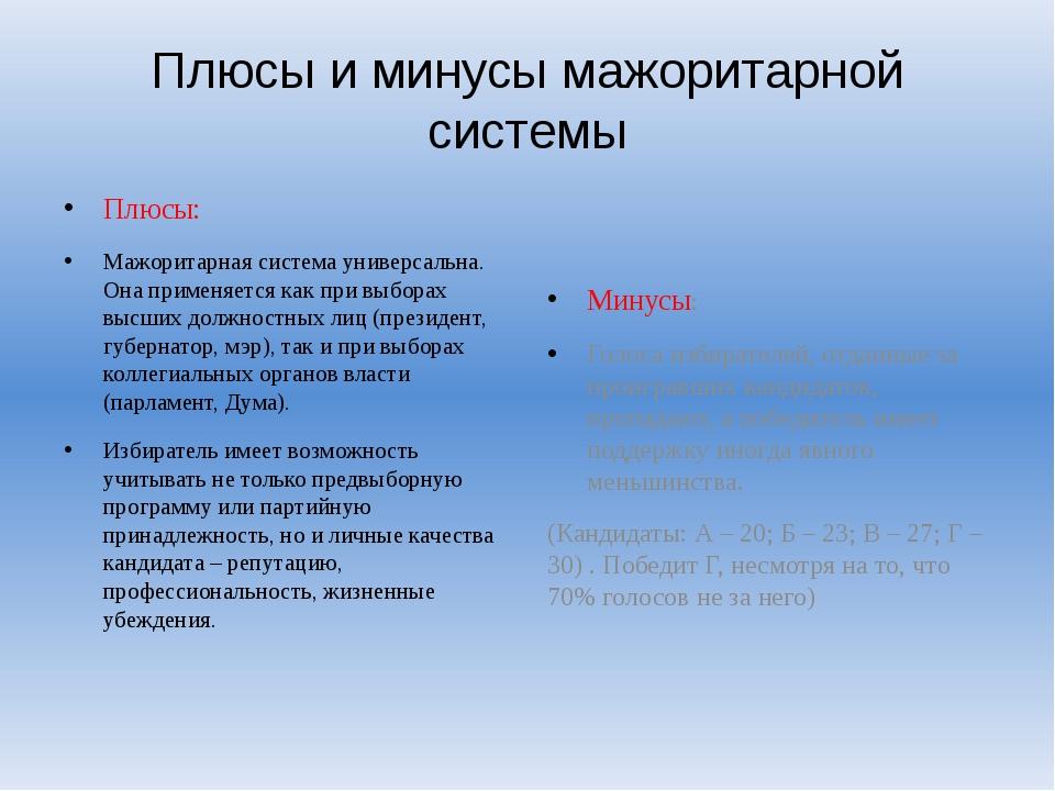 Плюсы и минусы мажоритарной системы Плюсы: Мажоритарная система универсальна....