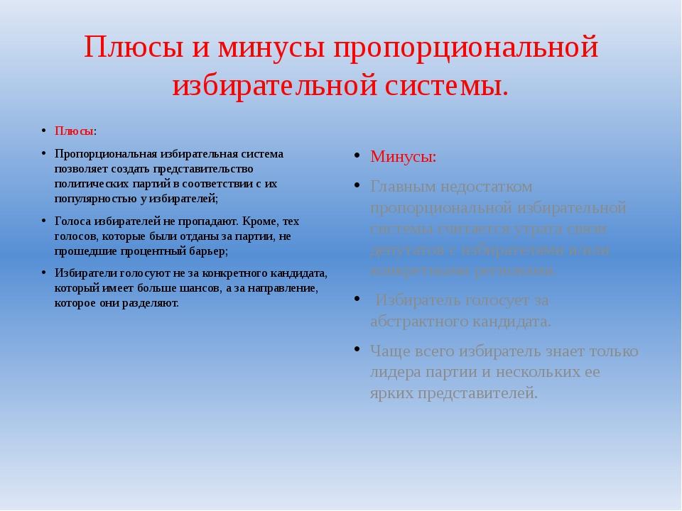 Плюсы и минусы пропорциональной избирательной системы. Плюсы: Пропорциональна...