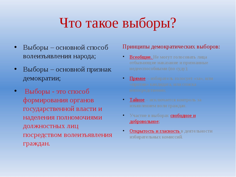 Что такое выборы? Выборы – основной способ волеизъявления народа; Выборы – ос...