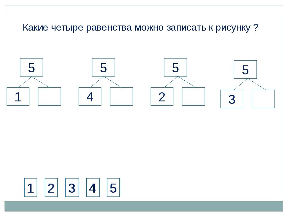 Какие четыре равенства можно записать к рисунку ? 1 2 3 4 5 1 2 3 4 5