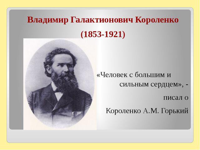 Владимир Галактионович Короленко (1853-1921) «Человек с большим и сильным се...