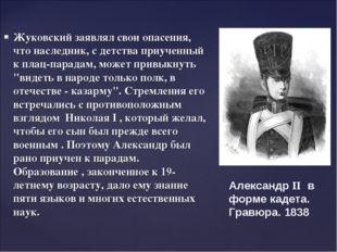 Жуковский заявлял свои опасения, что наследник, с детства приученный к плац-п