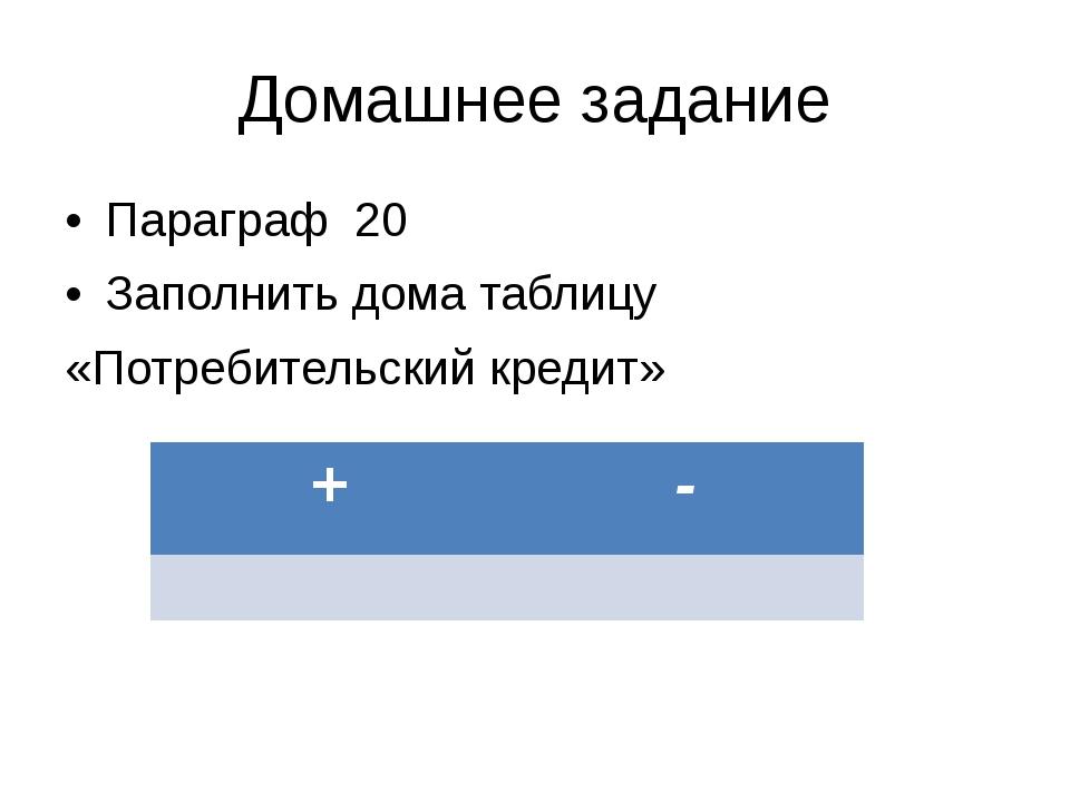 Домашнее задание Параграф 20 Заполнить дома таблицу «Потребительский кредит»...
