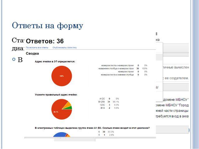 Ответы на форму Статистику ответов, в том числе в виде диаграммы, можно просм...