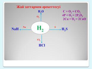 Н2 Жай заттармен әрекеттесуі H2O C + O2 = CO2 4P + O2 = 2P2O5 2Cu + O2 = 2CuO