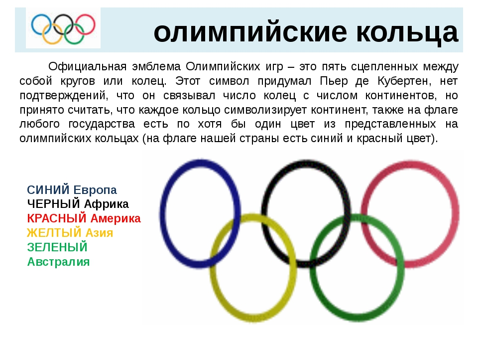 олимпийские кольца  Официальная эмблема Олимпийских игр – это пять сцепленн...