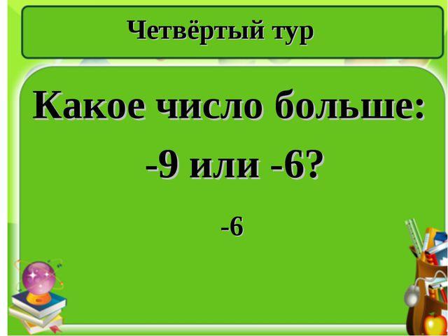 Четвёртый тур Какое число больше: -9 или -6? -6