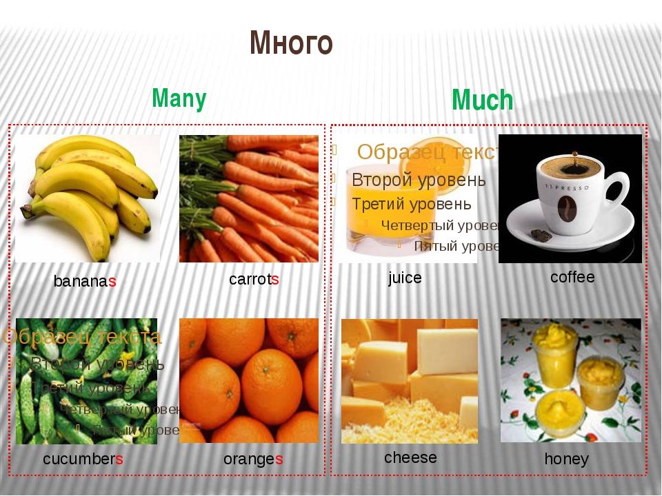 Много Many Much bananas carrots cucumbers oranges juice coffee cheese honey