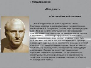 « Метод Цицерона» «Метод мест» «Система Римской комнаты». Этот метод назван т