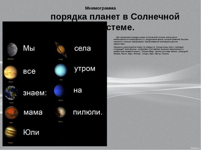Мнемограмма Для запоминания порядка планет в Солнечной системе используется м...