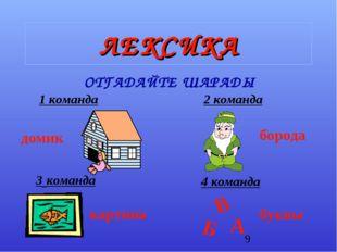 ЛЕКСИКА ОТГАДАЙТЕ ШАРАДЫ 1 команда 3 команда 2 команда 4 команда