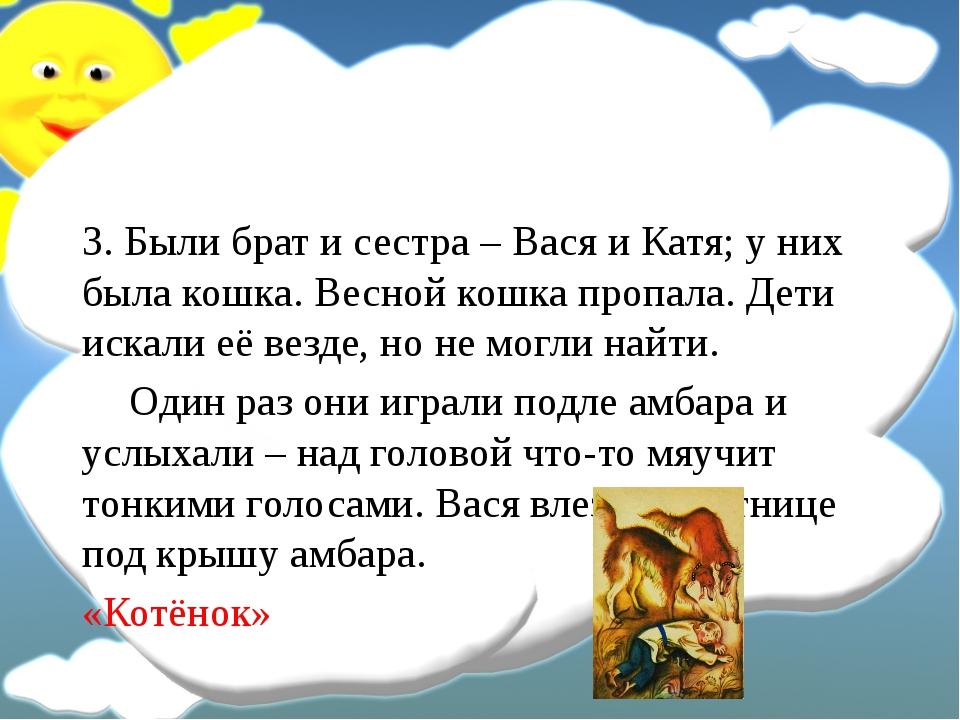 3. Были брат и сестра – Вася и Катя; у них была кошка. Весной кошка пропала....