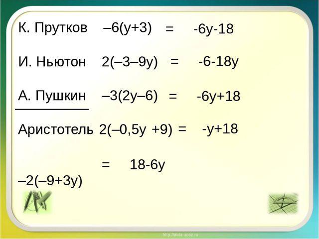 К. Прутков –6(y+3) И. Ньютон 2(–3–9у) А. Пушкин –3(2у–6) Аристотель 2(–0,5у +...
