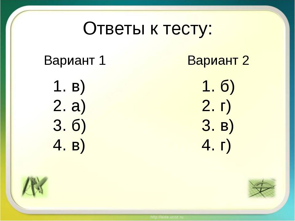 Ответы к тесту: в) а) б) в) б) г) в) г) Вариант 1 Вариант 2