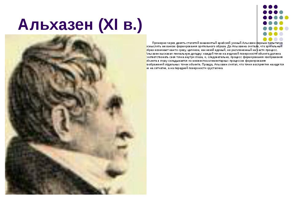 Альхазен (XI в.) Примерно через девять столетий знаменитый арабский ученый Ал...