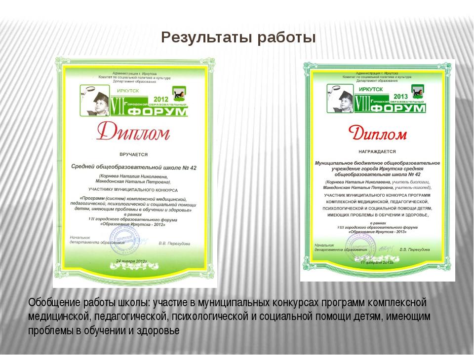 Результаты работы Обобщение работы школы: участие в муниципальных конкурсах п...