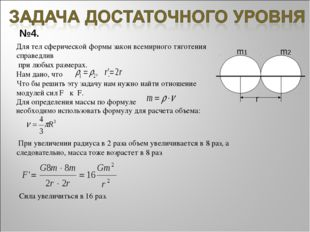 №4. m1 m2 r Для тел сферической формы закон всемирного тяготения справедлив