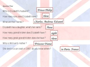 Question Time Who is Elizabeth's husband ? How many sons does Elizabeth have