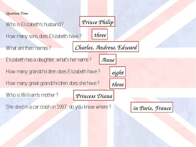 Question Time Who is Elizabeth's husband ? How many sons does Elizabeth have...