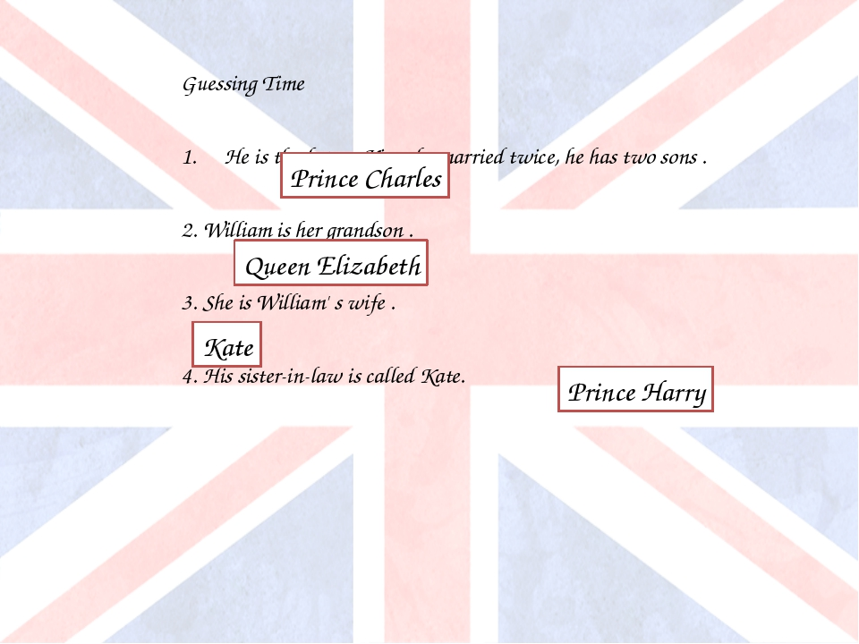 Guessing Time He is the future King, he married twice, he has two sons . 2. W...