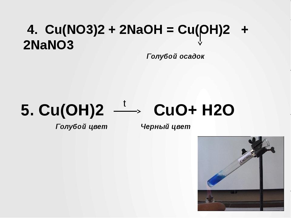 4. Cu(NO3)2 + 2NaOH = Cu(OH)2 + 2NaNO3 Голубой осадок 5. Cu(OH)2 CuO+ H2O t...