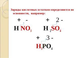 Заряды кислотных остатков определяются по основности, например: + - + 2 - H N